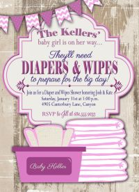 Baby Shower Invitation, Diaper and Wipes Baby Shower ...