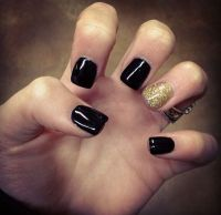 Black with Gold Glitter acrylic Gel Nails | nails ...