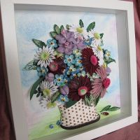 Original Paper Quilling Wall Art - Basket With Forget-me ...