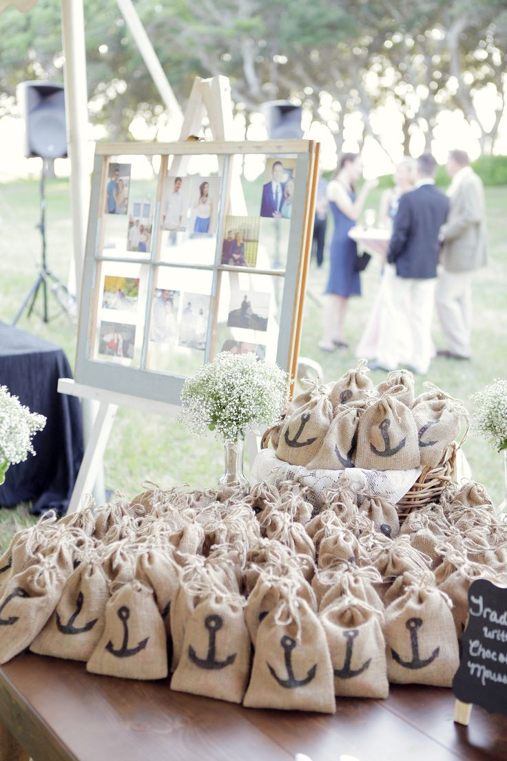 wedding gift bags wedding gift bags Wedding gift favors salt water taffy in burlap bags with a black anchor