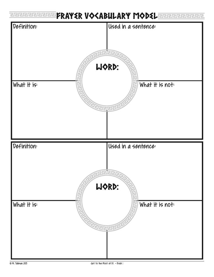 frayer model graphic organizers