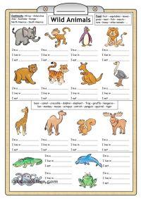 Wild Animals - Reading & Writing worksheet | English ...