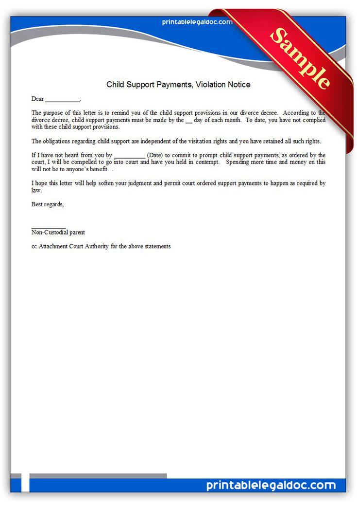 sample of child support letter