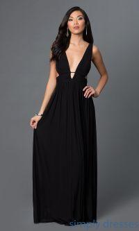 CQ-4131DK - Low V-Neck Black Formal Dress with Side Cut ...