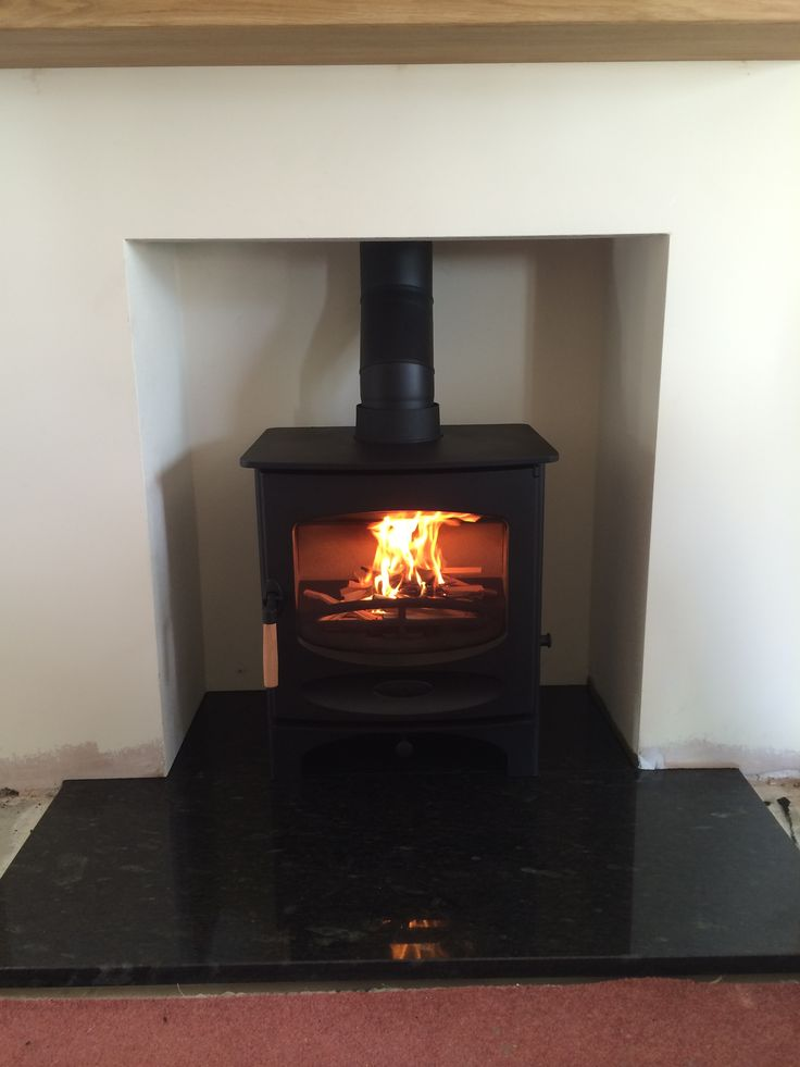 Fake Chimney Charnwood C5 Multifuel Stove Black Granite Hearth #