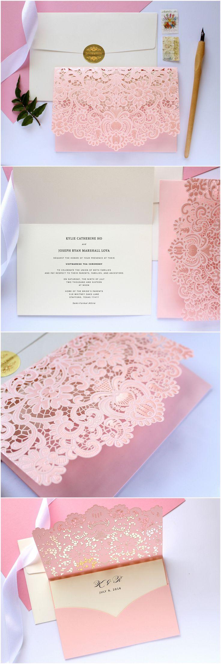 luxury wedding invitations pink wedding invitations Pink Wedding Invitations Blush Wedding Invitation Blush Pink Wedding Laser Cut Wedding Invitations Laser Cut Invitation