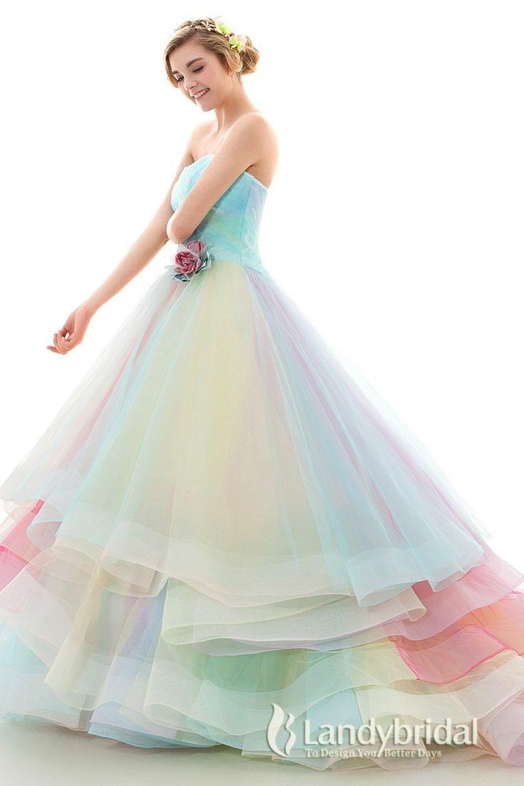 coloured wedding dresses wedding dresses in color Color dress Princess Rainbow dress Heart Neck gradation jwlt 26
