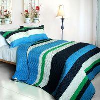 Blue Navy Green Striped Bedding Full/Queen Quilt Set Teen ...