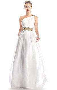 greek style long white prom dress simple wedding dress ...