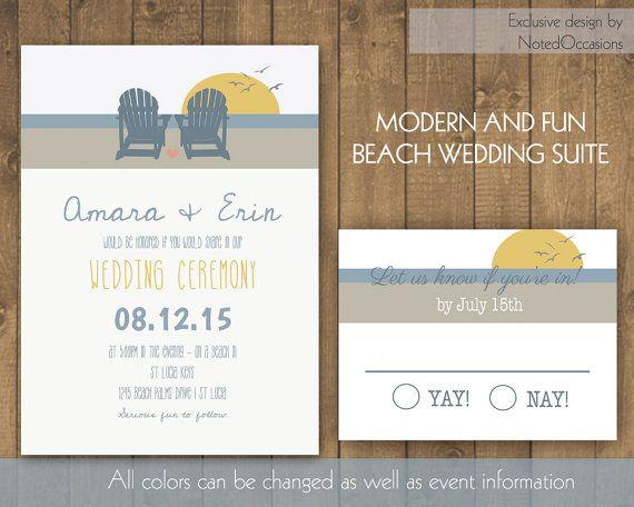 Unique Beach Chair Wedding Invitations