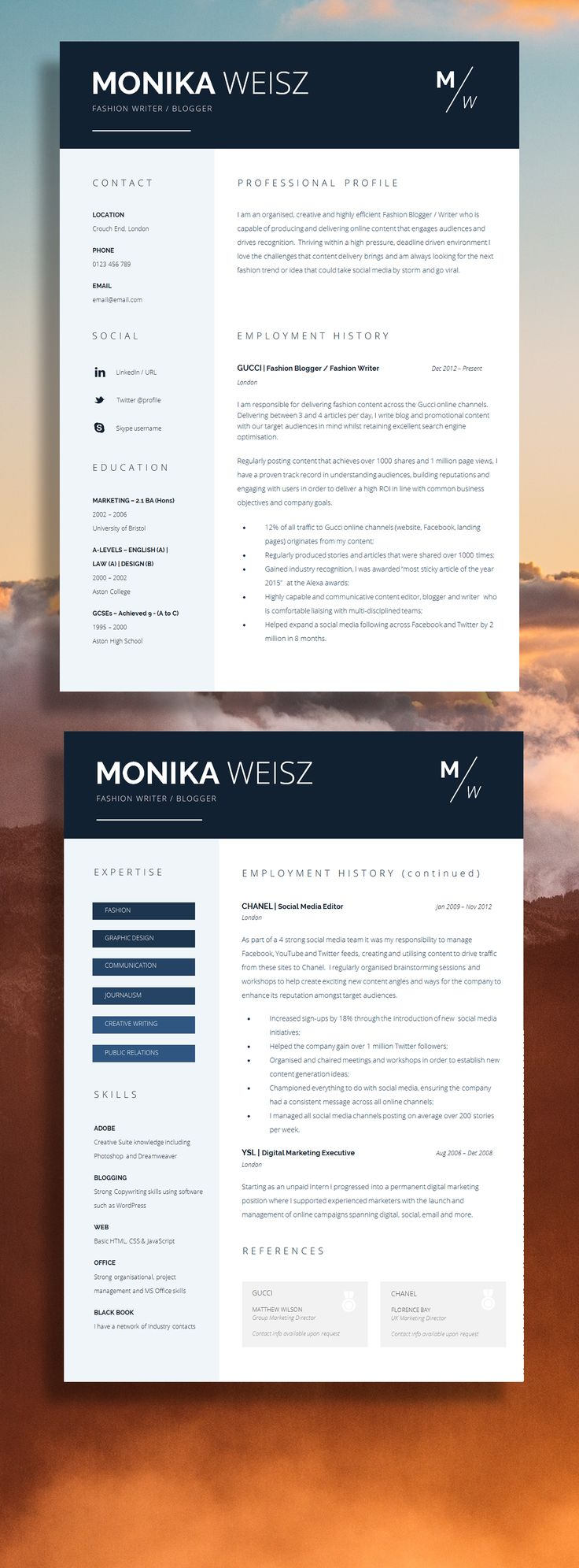 resume templates that stand out free