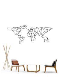 Science Art - Geometric World Map vinyl wall decal sticker ...