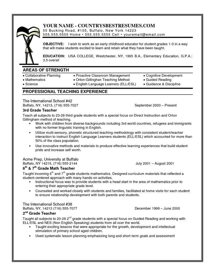 Elementary Teacher Resume Profile writing a teacher resume - example resume teacher