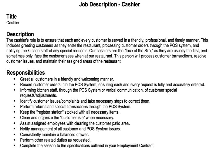 example of a cashier resume