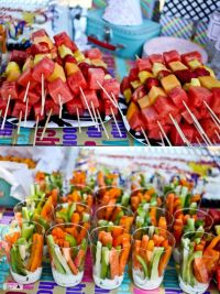 cookout! Love this idea of the fruit skewers and veggie ...