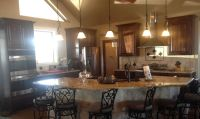 Kitchen open floor plan, cathedral ceiling, pendant lights ...