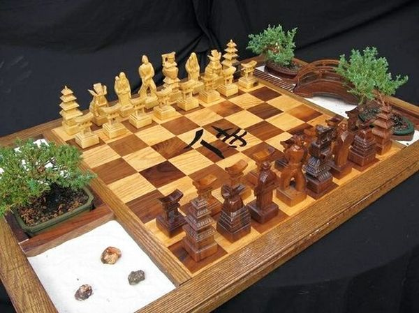 3d Wallpaper Online Shopping India Chess Set Japanese Samurai Chess Set With Bonsai Plant