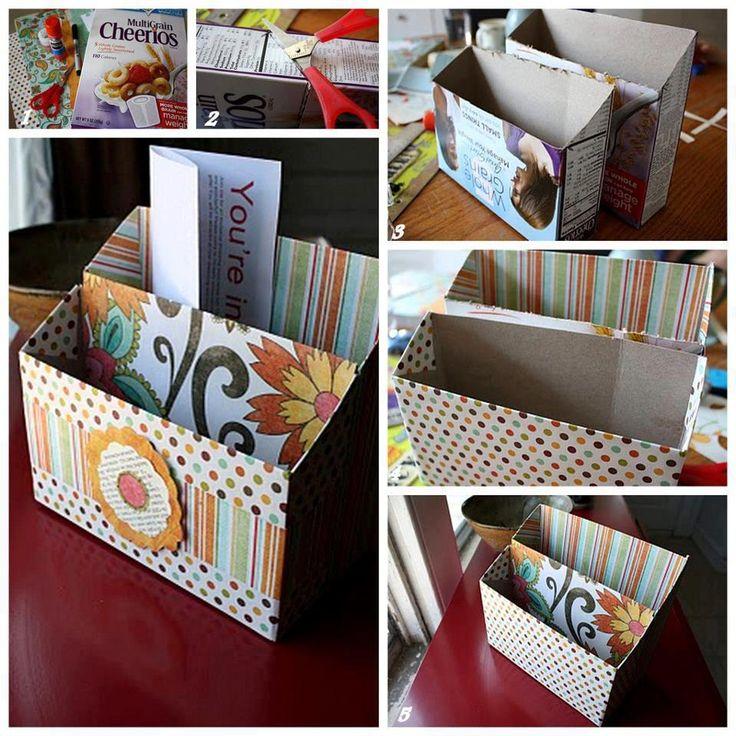 Organizador Con Caja De Cereal Cosas Lindas Detalles