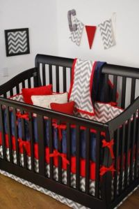 Red, Grey Chevron and Navy crib bedding in the nursery ...