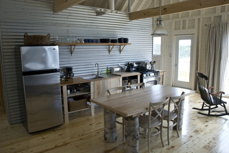 Corrugated Metal Kitchen Island Corrugated Metal Wall And Exposed Framing Of Small Cottage