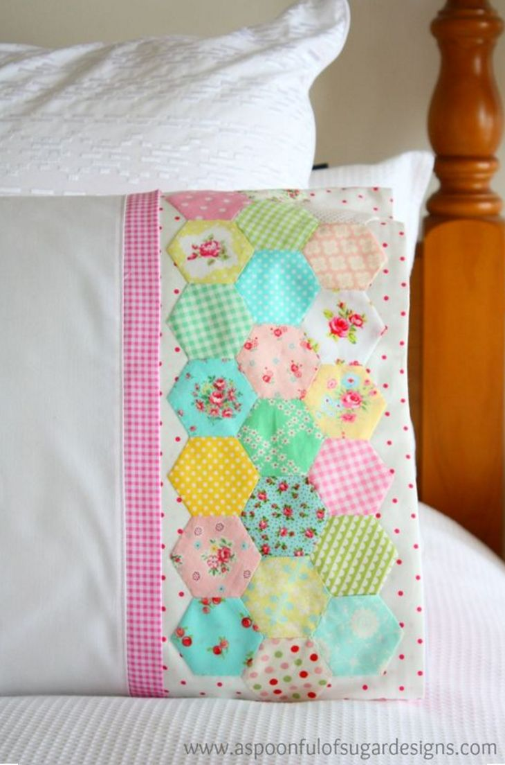 Creative Pastel Hexies Pillow Case You Only Need To Sew
