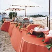 Persimmon Lamour Table Linen for a Beach Wedding ...