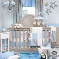 Details about Baby Boy Blue Grey Star Designer Quilt ...
