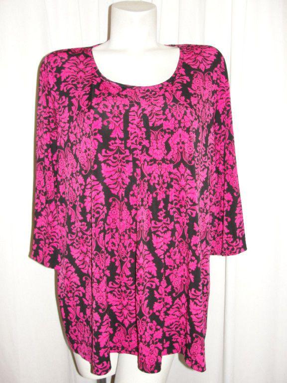 Susan Graver Liquid Knit Fuchsia Black Floral Pullover