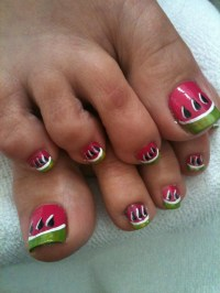 Watermelon nail design by Tish | Nails/toes/polish ...