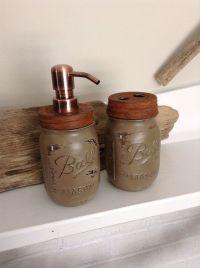 Bathroom Set Mason Jar Toothbrush Holder by JBJunkMarket ...