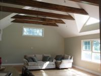 Exposed horizontal beams with drywall ceiling - bedroom ...