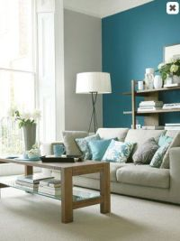 On my to-do list: A teal accent wall in a light-gray ...