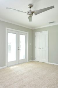 neutral shimmery gray walls with clean white trim, double ...