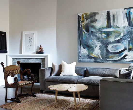 Painting Above Sofa This Monochromatic Living Room Gathers Inspiration From An