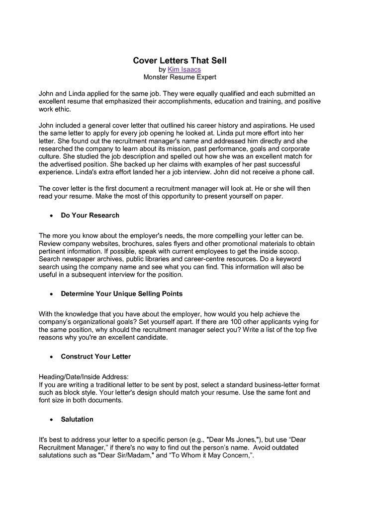 monster sample cover letter