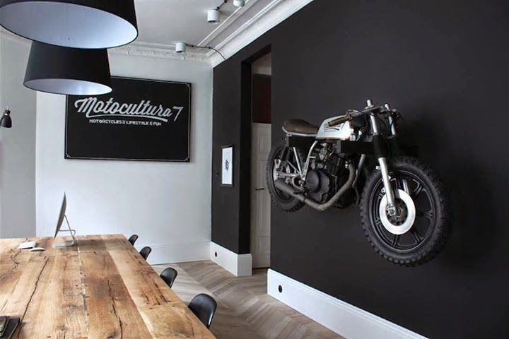Motorcycle Wall Mount Matte Black Painted Wall Wood
