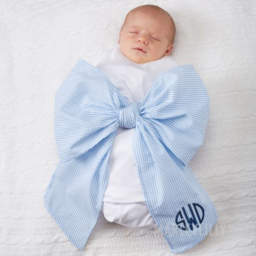 monogrammed swaddle blanket with pink bow