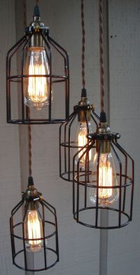 Upcycled Industrial Edison Bulb Cage Hanging Pendant Light ...