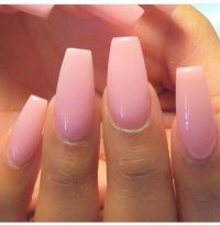 Love the light pink gel and coffin shape! Perfection ...