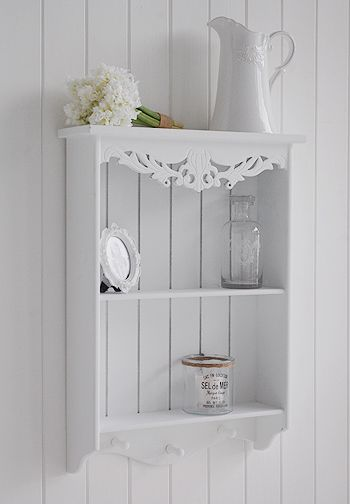 Side Photograph Of White Wall Shelf With Two Shelves And