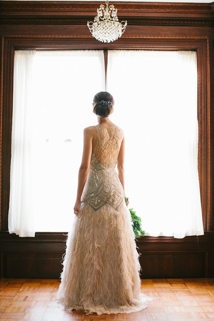great gatsby wedding wedding dress with feathers Sparkly dress with feathered skirt by Sue Wong image by Taken by Sarah Photography