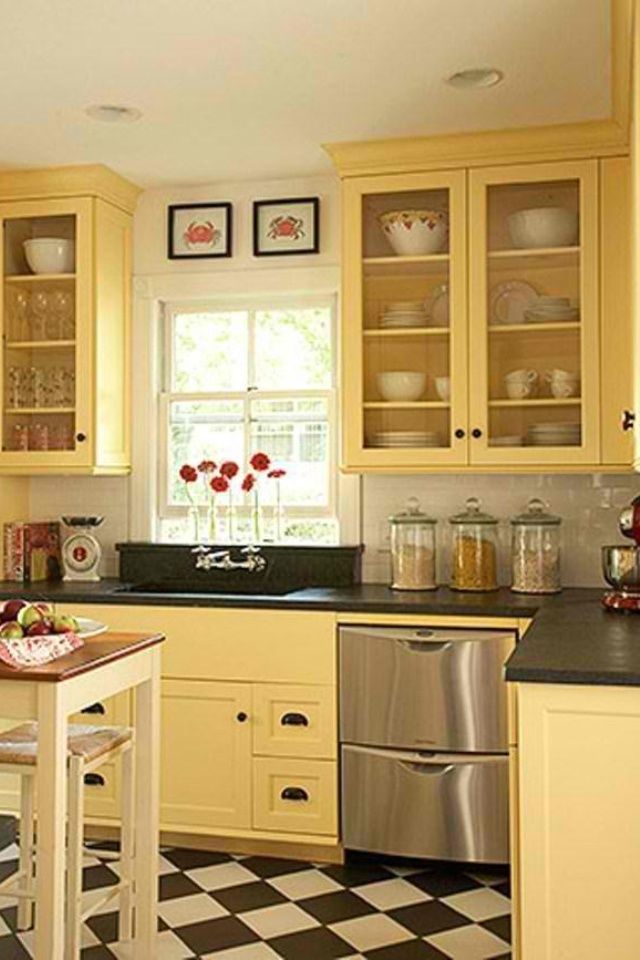 Black Beadboard Wallpaper Best 20 Yellow Kitchen Cabinets Ideas On Pinterest