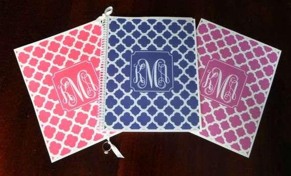 monogrammed planners and organizers