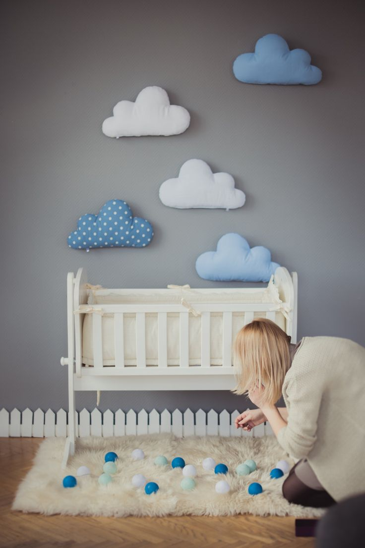Kids stuffed cloud shaped pillow gift ideas baby toddler mobile white blue nursery room decor