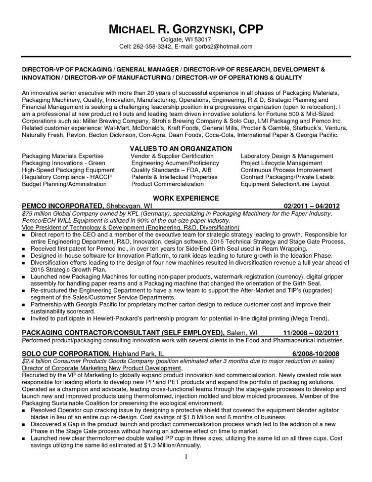 packaging engineer resume example