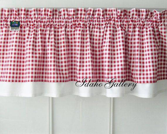 Karo Gardinen Curtains Red White Check Gingham Double Layered Window