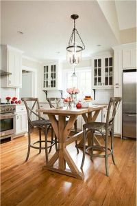 Cozy Transitional Kitchen with counter height table ...