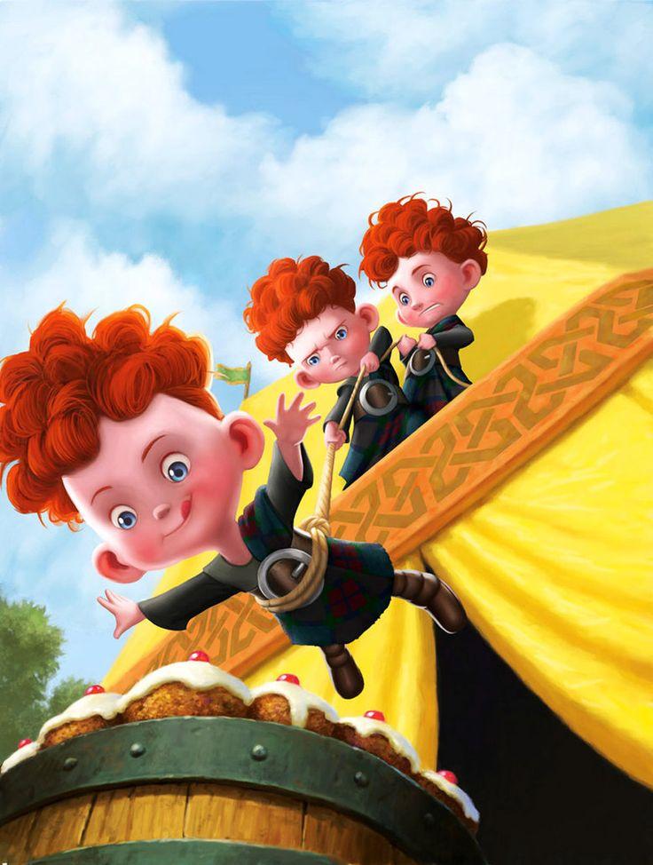Cute Mike Wazowski Wallpaper Disney Brave Merida Brothers Brave Triplets By Jprart