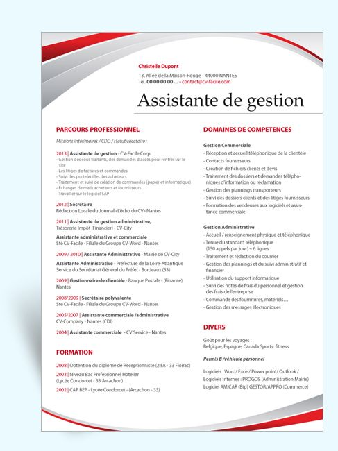 type cv assistante de gestion