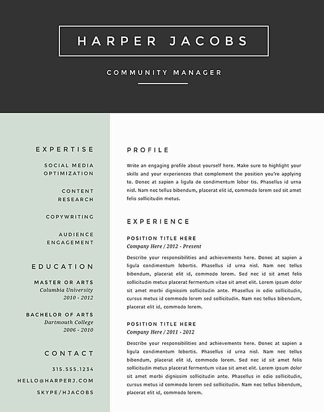 top rated resume template
